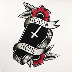 Cross flipped the correct way though lol Dope Tattoos, Leg Tattoos, Body Art Tattoos, Sleeve Tattoos, Tattoo Sketches, Tattoo Drawings, Tattoos Faciles, Tatuagem Old Scholl, Coffin Tattoo