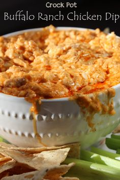 Crock Pot Buffalo Ranch Chicken Dip is a super easy Super Bowl Appetizer! The Slow Cooker does all the work and this dip tastes amazing!