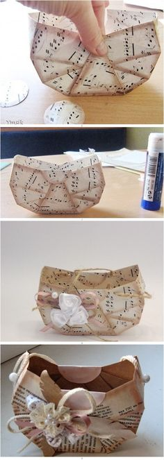 How to make a cute paper bag   {of course, more ideas for music and book pages}