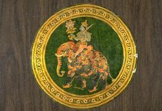 Kama riding composite elephant. Opaque watercolors on leather,  India, Madhugiri, Karnataka state, ca. 1750-1800, Asian Art Museum