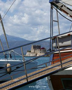 #Bourtzi fortress hardly seen from the port during the 2014 Mediterranean Yacht Show when approximately 60 luxury yachts were anchored side-by-side in the port of #Nafplio - #Greece
