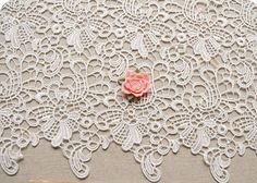 White Lace Fabric Crocheted Gown Fabric Hollowed Out Embroidered Florals Lace Fabrics Retro Venice Lace Supplies