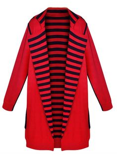 Elegant Stripe Patchwork Lapel Long Sleeve Knitted Cardigan - Gchoic.com