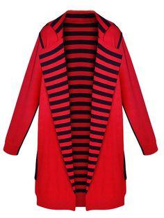 Elegant Stripe Patchwork Lapel Long Sleeve Knitted Cardigan - Gchoic.com