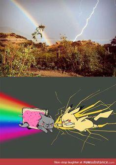 Nyan Cat vs Pikachu (Rainbow vs Lightning Bolt) - Funny Pokemon - Funny Pokemon meme - - Lo que la gente ve (ariva) Lo que yo veo (abajo) The post Nyan Cat vs Pikachu (Rainbow vs Lightning Bolt) appeared first on Gag Dad. Really Funny Memes, Stupid Funny Memes, Funny Relatable Memes, Funny Geek, Nyan Cat, Pikachu Cat, Pikachu Memes, Funny Images, Funny Pictures