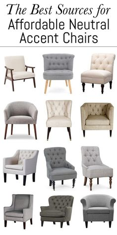 WOW! These are the absolute best sources for affordable neutral accent chairs. You can't go wrong with neutral! And all of these are $250 and under. LOVE them!