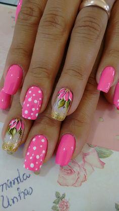feminine nail art in 2020 Fingernail Designs, Pink Nail Designs, Nail Designs Spring, Nail Polish Designs, Fancy Nails, Cute Nails, Pretty Nails, Pink Nail Art, Nail Art Diy
