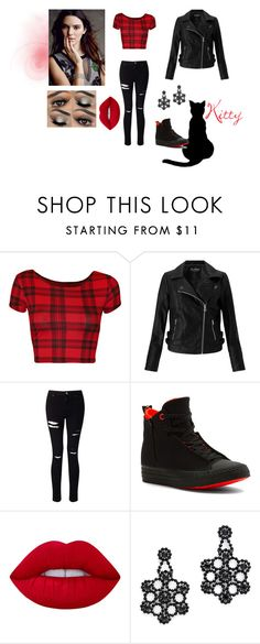 """""""Dark chic"""" by isabelfromnowon ❤ liked on Polyvore featuring WearAll, Miss Selfridge, Converse, Lime Crime, Kate Spade, Dark and casualoutfit"""