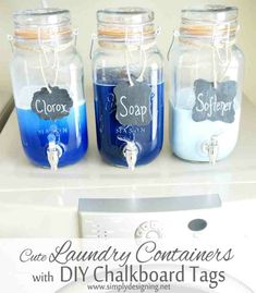 laundry soap container | Mason Jar Laundry Soap Containers with DIY Chalkboard Tags