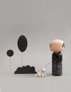 Jackson Pollock Kokeshi Doll