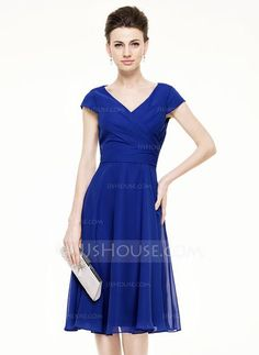 A-Line/Princess V-neck Knee-Length Ruffle Zipper Up Cap Straps Short Sleeves No 2015 Royal Blue Spring Summer Fall General Plus Chiffon Mother of the Bride Dress