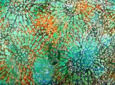 Green and Golden Brown Batik Print Cotton Fabric by theDelhiStore, $3.50