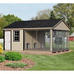 12 x 18 ft Amish Made Large 3 Run Dog Kennel with Feed Room Amish Dog Kennels | Pinecraft.com • Kennel Kits, Assembled Kennels, Heated Kennels & More #DogKennels
