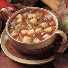 Spicy Potato Soup  I have always made this recipe with chicken instead of ground beef.  VERY delicious and easy to make! Perfect on a cold day!