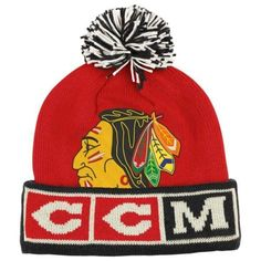 cheap for discount 34087 fa4f7 CCM Chicago Blackhawks Cuffed Knit Hat with Pom - Red