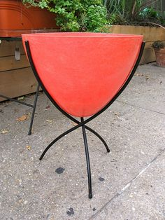 Orange Fiberglass Bullet Planter by openairmodern on Etsy, $375.00