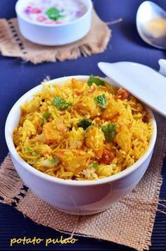 Vegan potato pulao recipe with fresh summer flavors, takes 20 minutes Indian Food Recipes, Vegetarian Recipes, Cooking Recipes, Healthy Recipes, Ethnic Recipes, Cooking Blogs, Vegetarian Cooking, Rice Recipes, Recipies