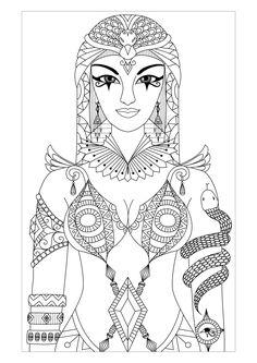 Galerie de coloriages gratuits coloriage-adulte-egypte-cleopatre-par-bimdeedee. Magnifique dessin de Cléopâtre, reine d'Égypte antique, par Bimdeedee (source : 123rf)
