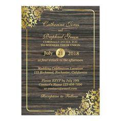 Luxury Gold Lace & Wood RSVP Wedding Invitation