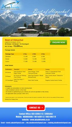 Sail Away to the Majestic Himachal with Akash Travels. http://www.akashtravels.co.in/