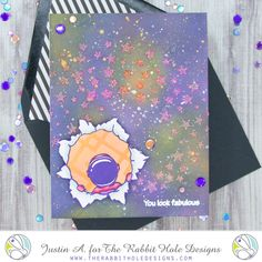 This project uses the Space- Miss You set and Aim for the Stars stencil from The Rabbit Hole Designs. Check out my blog for more details on how I made this card!