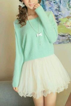 Pastel Fashion, Pastel Outfit -Mint Sweater with Pearl Shoulder Opening Holes and Vanilla Tutu-like Skirt with Bow Necklace. Pastel Fashion, Kawaii Fashion, Cute Fashion, Look Fashion, Teen Fashion, Style Lolita, Mode Lolita, Japanese Fashion, Asian Fashion