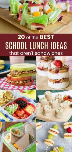20 of the best school lunch ideas that aren& sandwiches - lunch box recipes for back-to-school wraps, parfaits, muffins and more when kids are tired of the same old sandwich. to school lunch ideas for kids Lunch Box Recipes, Lunch Snacks, Wrap Recipes, Clean Eating Snacks, Sandwich Recipes For Kids, Sandwiches For Lunch, Healthy Recipes For Kids, Healthy Lunchbox Snacks, Non Sandwich Lunches