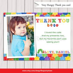 Very Hungry Photo Thank You Cards / Boy or Girl Personalized / Digital File / DIY Printable File