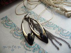 Feather earrings Brass earrings black big long chain by mmgem, $34.00