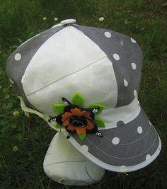 casquette gavroche, lin gris à pois, lin beige : Chapeau, bonnet par margeolu-ellin-s