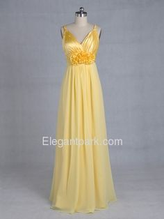 Daffodil Draped Fluted Spaghetti Straps Chiffon Long Bridesmaid Dress (110bg) - Bottom