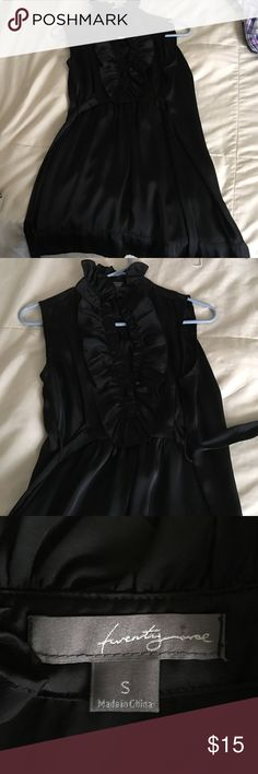 Little Black Dress Ruffled Neck / Satin Material / Ties at waist / Size: S / only worn once Dresses