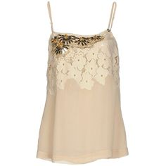 Twin-set Simona Barbieri Top ($120) ❤ liked on Polyvore featuring tops, beige, sequin top, lace top, beige lace top, sleeveless tops and lacy tops