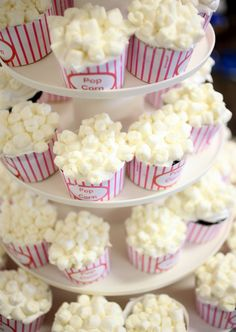 cupcakes - how cute would this be for a Boy Scout Popcorn Kick-off or a movie inspired party!
