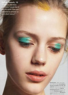 Lisa Houghton for i-D magazine #makeup #beauty #green #eyes