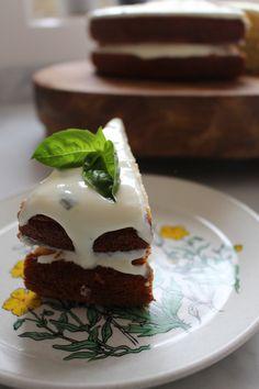Lemon Cake with Basil & Greek Yoghurt Icing - low FODMAP, gluten free, fructose friendly