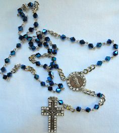 Iridescent Blue Handmade Rosary by Knique Jewelry