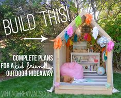 Summer Reading Nook/Outdoor Hideaway Building Plans- Vintage Revivals is the best! This would be so much better than a plastic house that the kids will outgrow. Outdoor Reading Nooks, Reading Nook Kids, Outdoor Projects, Diy Projects, Build A Playhouse, Diy Easy Playhouse, Backyard Playhouse, Backyard Games, Cozy Backyard