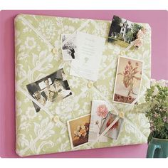 Fabric & Ribbon Corkboard DIY - we make these often for birthday gifts. A lovely personalized gift!