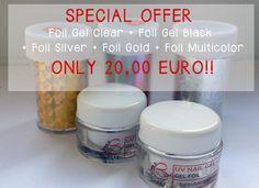 SPECIAL OFFER Foil Gel Clear + Foil Gel Black + Foil SIlver + Foil Gold + Foil Multicolor http://www.beautyin-nails.com/product/foil-special-offer/