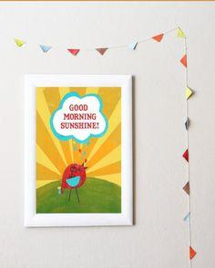 Good morning Sunshine art print...funky, fresh and fun!
