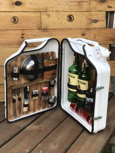 Mini Bars, Jerry Can Mini Bar, School Bus Camper, Alcohol Dispenser, Portable Bar, Plastic Crates, Home Bar Designs, Firefighter Gifts, Creative Gift Wrapping