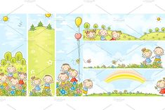 Set of six banners with happy kids and flowers with copy space for your text, both vertical and horizontal. Large jpeg and vector eps files are included. Flower Text, Friends Clipart, Graphic Illustration, Illustrations, Happy Kids, Vector File, Adobe Illustrator, Banners, Clip Art