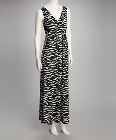 Look at this Sienna Rose Black Zebra Sleeveless Surplice Maxi Dress on #zulily today!