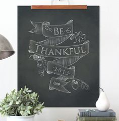 Thanksgiving Poster, Chalk board, Hand Lettering