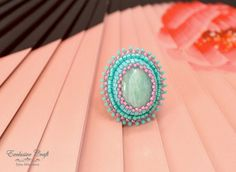 Bead embroidered ring with Amazonite, handmade beaded green ring, adjustable ring beaded, seed bead ring