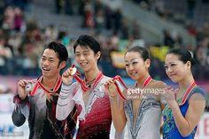 Men silver medalist Daisuke Takahashi of Japan Men gold medalist Yuzuru Hanyu of Japan Ladies gold medalist Mao Asada of Japan and Ladies silver...