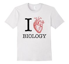 Men's I Love Heart Biology T Shirt - Science Tee Tshirt T...