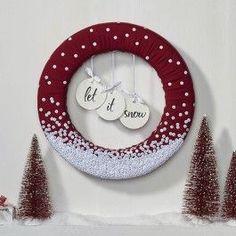 FloraCraft+Scandinavian+Let+It+Snow+Sequin+Wreath