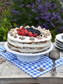Pradobroty: Narozeninový dort - bílkový korpus, tvarohový krém s čerstvým ovocem Cooking With Kids, Tiramisu, Cheesecake, Birthday Cake, Sweet, Ethnic Recipes, Food, Cakes, Candy